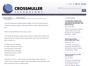 Crossmuller Adopts ISA 18.2 Alarming Standard & Situational Awareness HMI Methodology