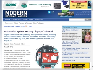 What's the best defense against security risks? CSIA's Bedrock Automation featured in Modern Materials Handling