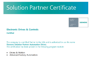 Electronic Drives and Controls Named First U.S. Siemens Solution Partner Certified for Drives & Motion