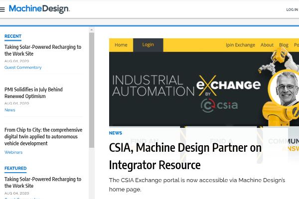 Machine Design and Control System Integrators Association Announce New Partnership